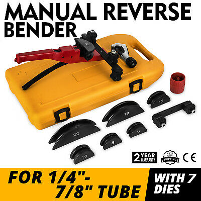 Multi Manual Pipe Tube Bender Tool Kit 1/4-7/8 & 7 Dies Steel Conduit Copper