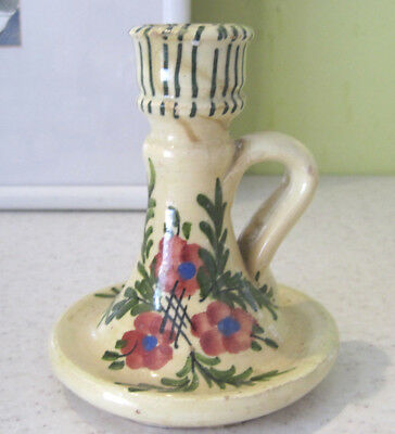 Vintage Pottery Candlestick Candle Holder Floral Poppy Pattern