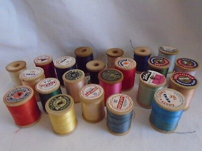 antique vintage lot advertising sewing small wood thread spool craft lot