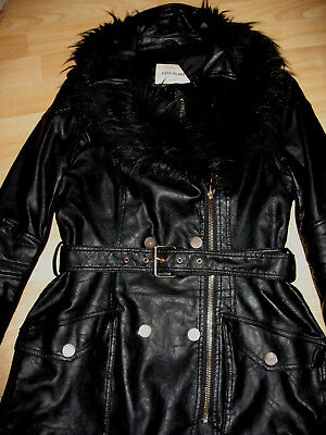 River Island Ladies Black Leather Look Jacket, Size 10 Detachable Fur Collar VGC