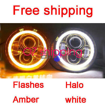 "Toyota Landcruiser HZJ75 75 78 79 series JTX LED WHITE CHROME Halo 7"" Headlights"