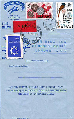 MALAWI 1971 STRIKE MAIL AIR LETTER RANDALL 10p LOCAL POST ADDED TO SADS LETTER