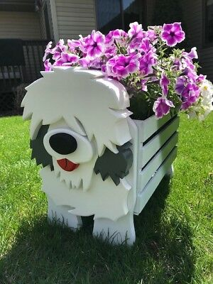 Old English Sheepdog wood toybox plant stand OES toy box grooming planter