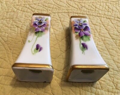 Vintage Porcelain Gold Top And Bottom Hand-Painted Violets Salt & Pepper Shakers