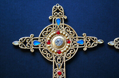"""Pair of Vintage Metal Jeweled CROSS - Gold Toned - 5 1/2"""" Long"""