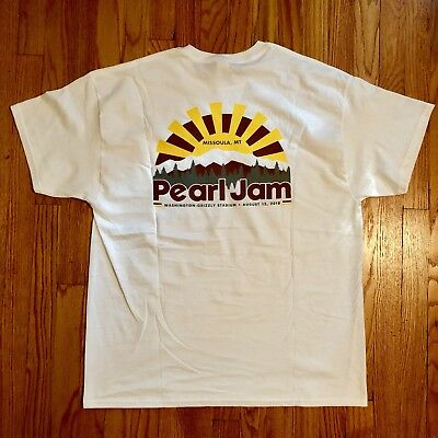 Pearl Jam white XL Missoula Rising Sun 2018 Tourpocket T-shirt XL