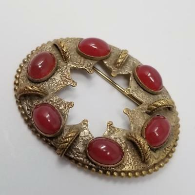 Antique Victorian  Merlot Cabochon Round Open Center Pin Brooch