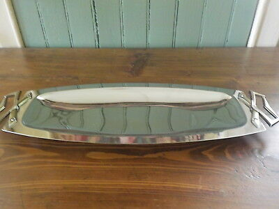 Vintage Retro Mid Century Chrome Kromex Bread Tray With Brass Tone Handles