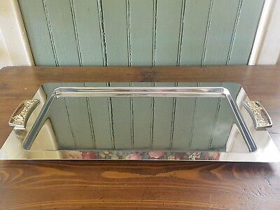 Vintage Mid Century Retro Chrome Tray With Brass Tone Handles Kromex
