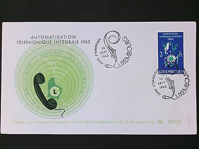 LUXEMBURG FDC 1963 FIRST DAY COVER TELEFON TELEPHONE PHONE d2820
