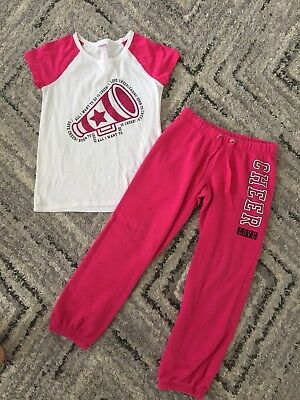 Girls JUSTICE Outfit Set CHEER Top & CHEER Jogging / Sweatpants~ Pink~ Size 8/10