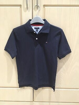 Boys Tommy Hilfiger Navy Blue Polo Shirt Age 8-10 Yrs