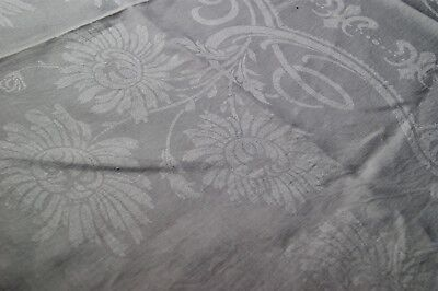 """ANTIQUE WHITE IRISH LINEN DAMASK TABLECLOTH Cutter or Crafts 72"""" x 64"""" #T102"""