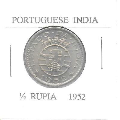 India(Potuguese Colony) 1952 1/2 Rupia KM-26 Choice UNC
