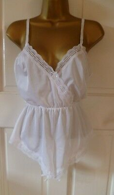 Vintage 80S White Silky Nylon Playsuit Teddie Tap Pantie Body All In One Size 16