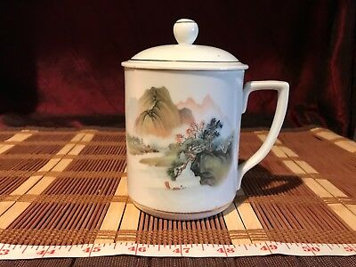 "Asian Porcelain Cup w/ Lid, Outdoor Scene 5 1/2""x4 3/4"""