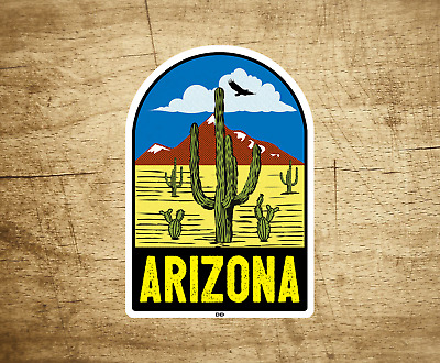 "Arizona Decal Sticker Desert Mountains Cactus Vintage Travel Vinyl 3.75"" x 2.6"""