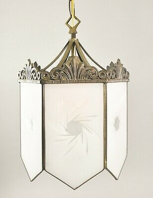Vintage Hexagon Chandelier / Hall / Porch Light Etched Sunburst Glass Panels