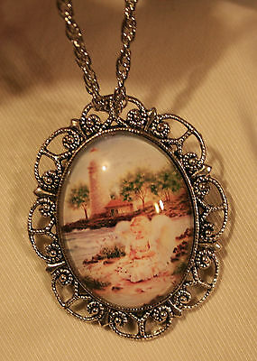 Scallop Rim Silvertone Angel By the Sea Lighthouse Glass Cameo Necklace Brooch