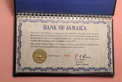 Bank of Jamaica 1976 specimen set - SN: 3864 - complete