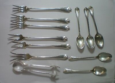 Wallace Sterling Grand Colonial 12 Pc Small Teaspoon, Fork,tong Lot No Monogram