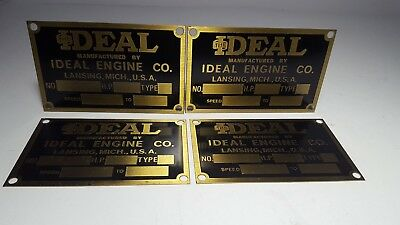 Vintage Hit And Miss Gas Engine Ideal Engine Company Data Plates