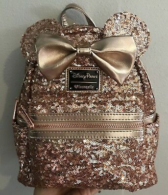 NEW Disney Parks Loungefly Rose Gold Sequined Minnie Mouse Backpack Bag IN HAND