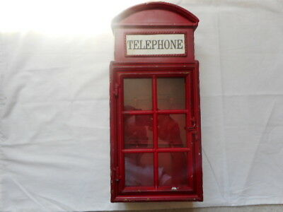 London Style Red Telephone Booth  Key Hold Metal Box Home Decor Vintage Look