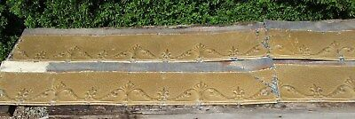 4 Fabulous Ornate Tin Ceiling Trim Pcs w/ Mustard Color, Nice Overall Condition