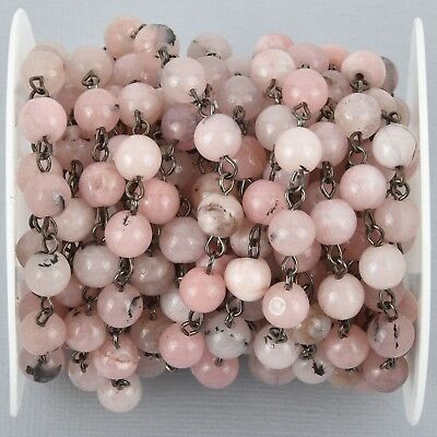 1 yard BLUSH PINK Agate Gemstone Rosary Chain, GUNMETAL, 8mm round fch0990a