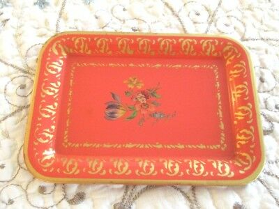 Red Shabby Vintage Country French Floral Metal Dresser Perfume Earring Tole Tray