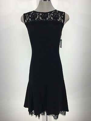 Calvin Klein Nwt Elegant Black Lace Fit And Flare Dress Size 14 16