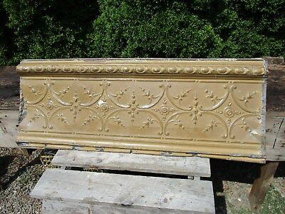 "Fabulous Ornate Tin Ceiling Trim 48"" x 18"" w/ Mustard Color - Repurpose Accent"
