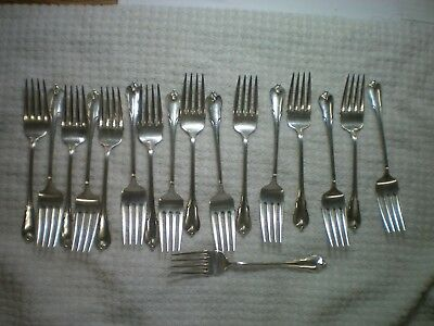Wallace Sterling Grand Colonial 17 Pc Salad Fork Lot , No Monogram