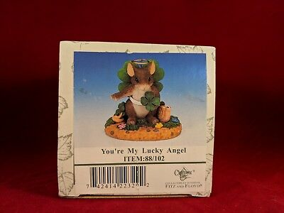 """Vintage Fitz Floyd Charming Tails """"You're My Lucky Angel"""" NIB"""