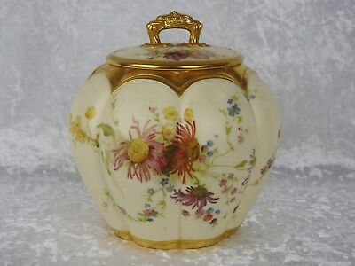Antique Royal Worcester Blush Ivory Lobed Jar And Cover - Date 1893
