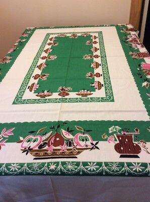 """Vintage Table Cloth With Green Pink Brown Fruit /Flower Design ORG Tag 60"""" x 80"""""""