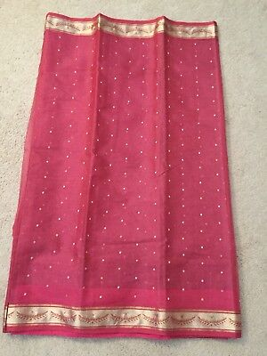Indian Designer Silk Chanderi Saree Pink real zari (stitched blouse)