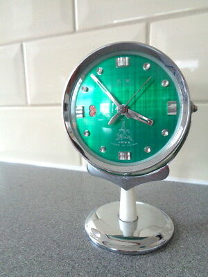 Vintage Five Rams Mechanical Wind Up  Alarm Clock Swinging on Stand