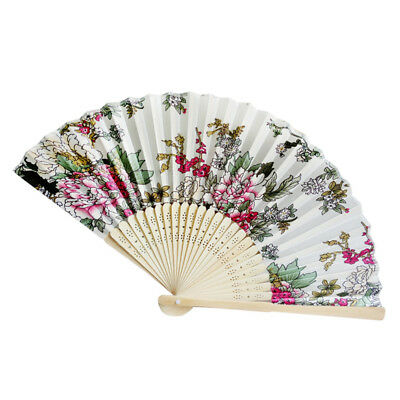 Retro Bamboo Folding Held Flower Fan Chinese Style Dance Party Pocket Gift O YT8