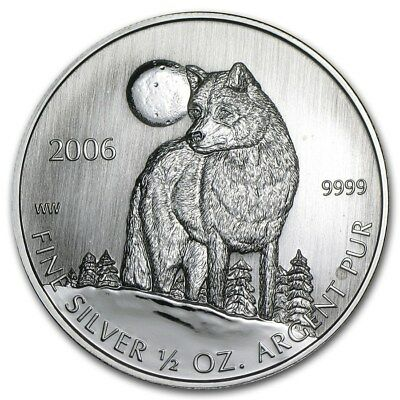 2006 $1 Canada Timber Wolf 1/2 oz .999 Fine Silver Coin Excellent BU condition