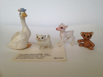 Vintage Hagen-Renaker Mother Goose, Baby Kitten, Lamb & Teddy Bear Figurines
