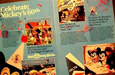1988 Fly Delta Airlines Celebrate Mickey Mouse 60-Year Birthday Vintage Print Ad