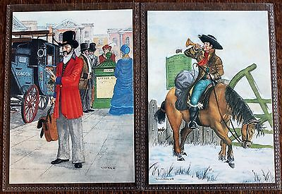 Postcard Pair of Postboy & London Letter Carrier – Unused – H2, 1 & 3 (Se1)