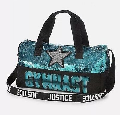 NWT Justice flip sequin GYMNASTICS duffle Bag! SO Sparkly! Full Size!💜💜💜