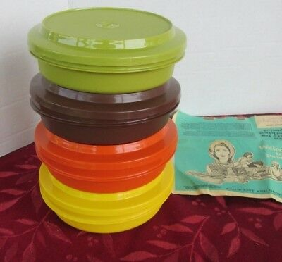 4 Vintage New Tupperware Serve and Seal Bowls w Lids Harvest Colors NOS
