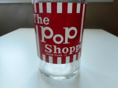 The POP SHOPPE 30 OZ  Clear Glass Bottle  Red  White Graphics Made In Canada
