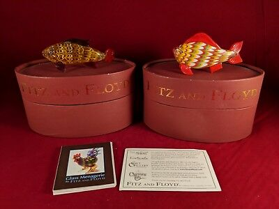 Fitz and Floyd Glass Menagerie SET OF 2 Fish Glass Figurine/Box