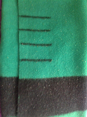 """Vintage Hudson's Bay Green 4 Point Wool Blanket Double Bed Size 75"""" x 90"""""""
