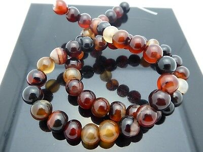 Natural Vintage Banded Carnelian Agate Orange Black 8mm Round Bead Strands 15""